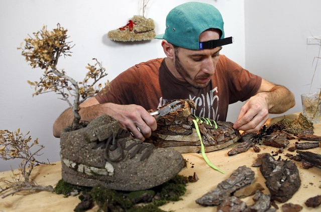 """French artist Christophe Guinet, also known as """"Mr Plant"""", works on his plant shoe creation """"Wood"""", part of the artistic project """"Just Grow It"""", in his art gallery in Marseille, November 25, 2014. (Photo by Jean-Paul Pelissier/Reuters)"""