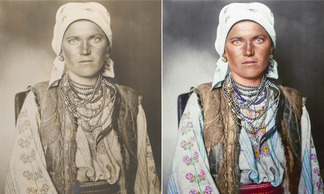 A Ruthenian woman circa 1906 from the region historically inhabiting the kingdom of the Rus, incorporating parts of modern-day Slavic speaking countries. Her outfit consists of a shirt and underskirt made from linen embroidered with traditional floral-based patterns. (Photo by Augustus Francis Sherman/New York Public Library/The Guardian)