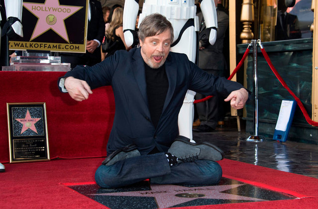 Actor Mark Hamill is honored with a star on the Hollywood Walk of Fame on March 8, 2018, in Hollywood, California. (Photo by Valerie Macon/AFP Photo)
