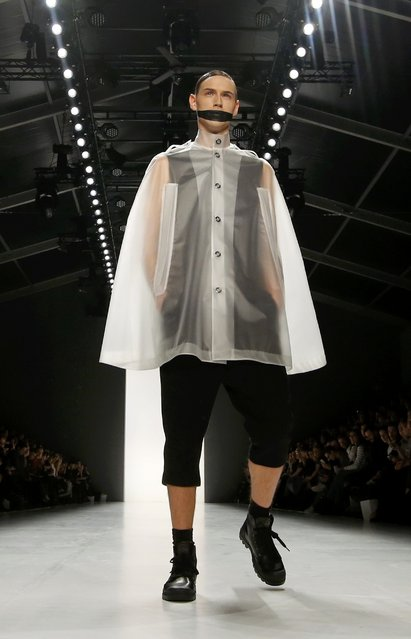 A model presents a creation by Sopopular at Berlin Fashion Week Autumn/Winter 2015, in Berlin January 19, 2015. (Photo by Fabrizio Bensch/Reuters)