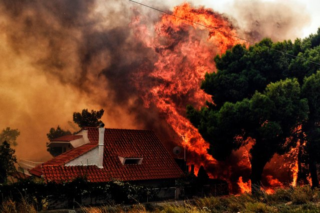 "A house is threatened by a huge blaze during a wildfire in Kineta, near Athens, on July 23, 2018. More than 300 firefighters, five aircraft and two helicopters have been mobilised to tackle the ""extremely difficult"" situation due to strong gusts of wind, Athens fire chief Achille Tzouvaras said. (Photo by Valerie Gache/AFP Photo)"