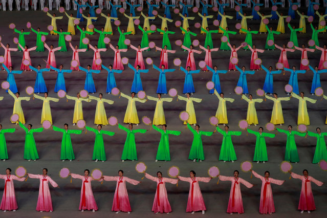Participants perform at Mass Games in May Day stadium marking the 70th anniversary of North Korea's foundation in Pyongyang, North Korea, September 9, 2018. (Photo by Danish Siddiqui/Reuters)