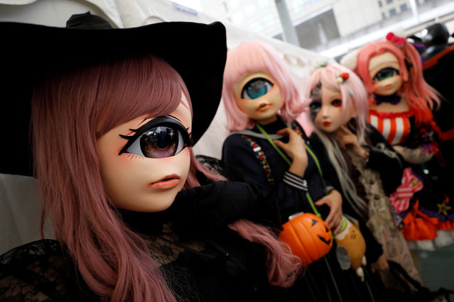 Participants in costumes wait for a Halloween parade in Kawasaki, south of Tokyo, Japan on October 28, 2018. (Photo by Toru Hanai/Reuters)