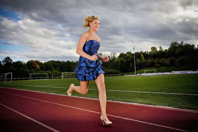 Julia Plecher from Germany who has made it into the Guinness Book of World Records for running the fastest 100 meters in high heals traveling the distance in just 14.531 seconds. (Photo by PA Wire)
