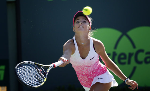 CiCi Bellis returns the ball to Serena Williams during their match at the Miami Open tennis tournament in Key Biscayne, Fla., Sunday, March 29, 2015. Williams 6-1, 6-1. (Photo by J. Pat Carter/AP Photo)