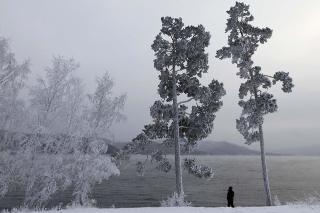 A man man stands on a snowy bank of the Yenisei River, outside Krasnoyarsk, Russia, on January 9, 2014. (Photo by Ilya Naymushin/Reuters)
