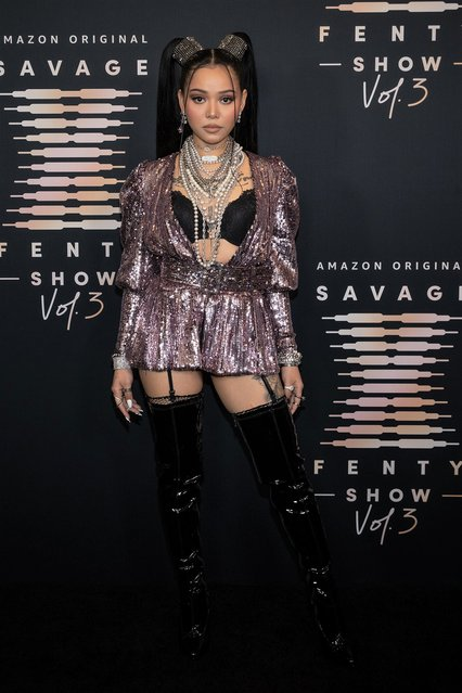 In this image released on September 22, Filipino-American social media personality and singer Bella Poarch attends Rihanna's Savage X Fenty Show Vol. 3 presented by Amazon Prime Video at The Westin Bonaventure Hotel & Suites in Los Angeles, California; and broadcast on September 24, 2021. (Photo by Emma McIntyre/Getty Images for Rihanna's Savage X Fenty Show Vol. 3 Presented by Amazon Prime Video)