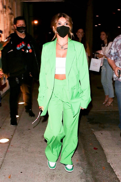 American YouTuber and a daughter of actress Lori Loughlin and fashion designer Mossimo Giannulli Olivia Jade Giannulli stands out in green as she grabs a bite at Craig's after her round 2 performance on DWTS in West Hollywood, CA. on September 27, 2021. (Photo by Backgrid USA)