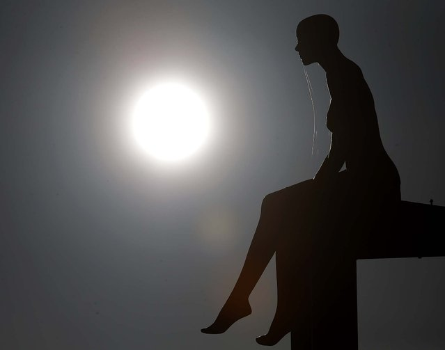 A display dummy sits on an advertising board, silhouetted against the sun, in Moers, Germany, on January 28, 2014. (Photo by Frank Augstein/Associated Press)