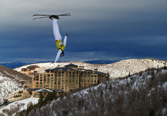 Travis Gerrits of Canada competes during qualifying for the Mens Aerials at the FIS Freestyle Ski World Cup Aerial Competition at Deer Valley on January 10, 2014 in Park City, Utah. (Photo by Mike Ehrmann/Getty Images)