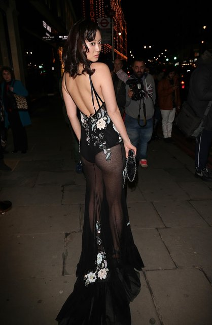 Betty Bachz is seen outside of the Furla store launch party on February 2, 2017 in London, England. (Photo by FameFlynet)