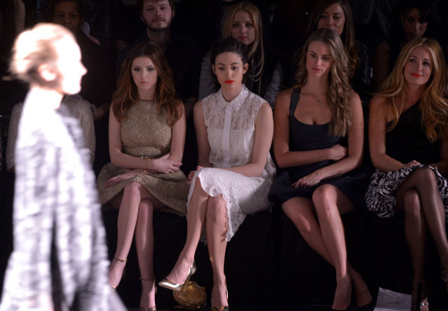 Anna Kendrick, Emmy Rossum, Julie Henderson and Cat Deeley attend the Monique Lhuillier fashion show during Mercedes-Benz Fashion Week Fall 2014 at The Theatre at Lincoln Center on February 8, 2014 in New York City.  (Photo by Stephen Lovekin/Getty Images for Mercedes-Benz Fashion Week)