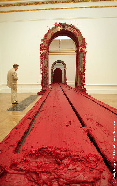 Wax deposits left by Anish Kapoor's moving train sculpture Svayambh