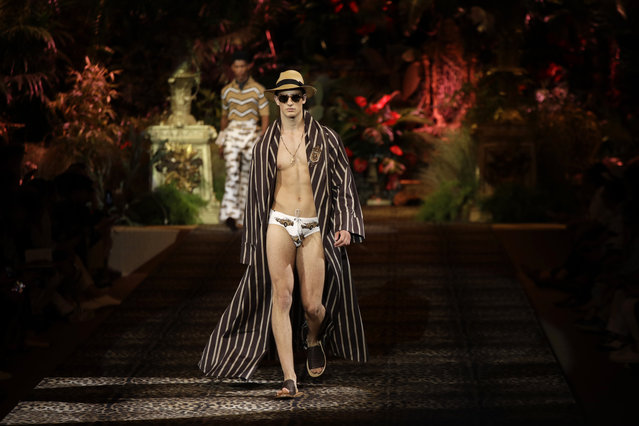 A model wears a creation as part of the Dolce & Gabbana men's Spring-Summer 2020 collection, unveiled during the fashion week, in Milan, Italy, Saturday, June 15, 2019. (Photo by Luca Bruno/AP Photo)