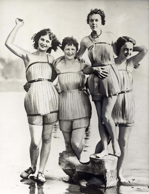 Photograph of four women sporting wooden bathing costumes in Haquin, Washington. They were invented in order to make swimming easier, although they dont seem to have caught on. Date: 1929. (Photo by Mary Evans Picture Library/Caters News)