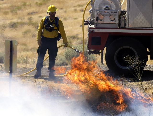 A firefighter keeps an eye on a blaze as small spot fires are allowed to burn out around Roosevelt, Wash., Wednesday, August 5, 2015. (Photo by Don Ryan/AP Photo)