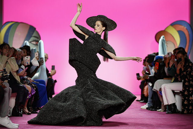 Model Coco Rocha wears the final look of the Christian Siriano collection during Fashion Week, Thursday, February 6, 2020, in New York. (Photo by John Minchillo/AP Photo)