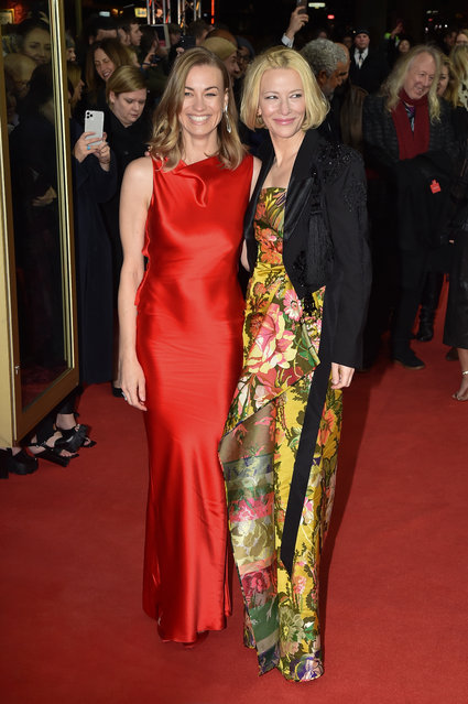 """(L-R) Yvonne Strahovski and Cate Blanchett pose at the """"Stateless"""" premiere during the 70th Berlinale International Film Festival Berlin at Zoo Palast on February 26, 2020 in Berlin, Germany. (Photo by Stephane Cardinale – Corbis/Corbis via Getty Images)"""