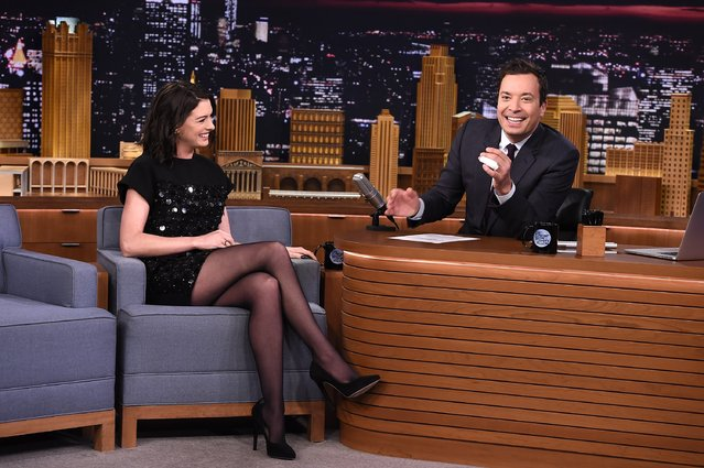 "Anne Hathaway Visits ""The Tonight Show Starring Jimmy Fallon"" at Rockefeller Center on September 22, 2015 in New York City. (Photo by Theo Wargo/NBC/Getty Images for ""The Tonight Show Starring Jimmy Fallon"")"