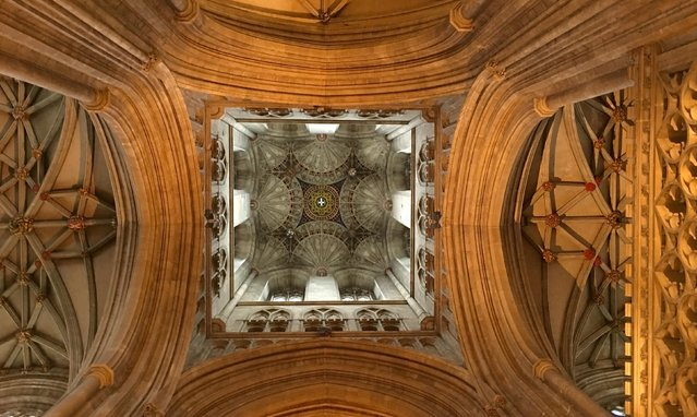 """""""Medieval Canterbury Cathedral still awes the 21st-century visitor with its grand scale, complex patterning, and delicate details"""", wrote Nora Vivian Odendahl, 60, of North Wales, Pa. She took the photo in Canterbury, England. (Photo by Nora Vivian Odendahl)"""