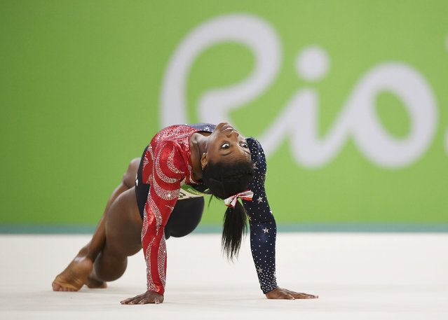 2016 Rio Olympics, Artistic Gymnastics, Preliminary - Women's Qualification, Subdivisions, Rio Olympic Arena, Rio de Janeiro, Brazil on August 7, 2016. Simone Biles (USA) of USA competes on the floor during the women's qualifications. (Photo by Mike Blake/Reuters)