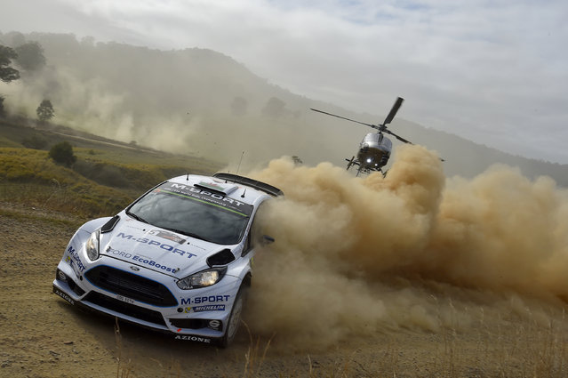 Elfyn Evans of Great Britain and Daniel Barritt of Great Britain compete in their M-Sport WRT Ford Fiesta RS WRC during Day One of the WRC Australia on September 11, 2015 in Coffs Harbour, Australia. (Photo by Massimo Bettiol/Getty Images)