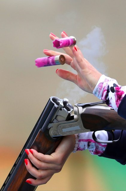 Libuse Jahodova of the Czech Republic during Skeet Women's qualification shooting competition of the Rio 2016 Olympic Games Shooting events at the Olympic Shooting Centre in Rio de Janeiro, Brazil, 12 August 2016. (Photo by Armando Babani/EPA)