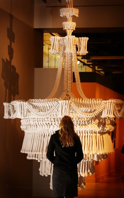 """A chandelier made from plaster casts of bones by artist Jodie Carey is displayed at the """"Death: A Self-portrait"""" exhibition at the Wellcome Collection on November 14, 2012 in London, England. The exhibition showcases 300 works from a unique collection by Richard Harris, a former antique print dealer from Chicago, devoted to the iconography of death. The display highlights art works, historical artifacts, anatomical illustrations and ephemera from around the world and opens on November 15, 2012 until February 24, 2013.  (Photo by Peter Macdiarmid)"""