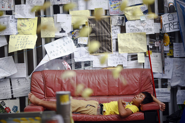 A pro-democracy protester sleeps under messages of support in a protesters' encampment in Hong Kong's financial central district October 28, 2014. (Photo by Damir Sagolj/Reuters)