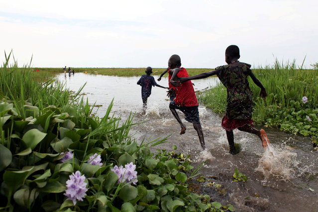 Children play in the Sudd Swamp near the town of Nyal, in South Sudan on August 19, 2018. (Photo by Andreea Campeanu/Reuters)