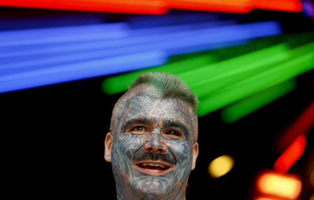 "Mr Art , whose full name is ""King of Ink Land King Body Art The Extreme Ink-Ite"", displays his tattoos at a book launch in London, Wednesday, November 19, 2014. The ""Ripley's Believe it or Not! 2015 Annual, Reality Shock"", published by Random House, is a compendium of strange but true facts and stories. (Photo by Kirsty Wigglesworth/AP Photo)"