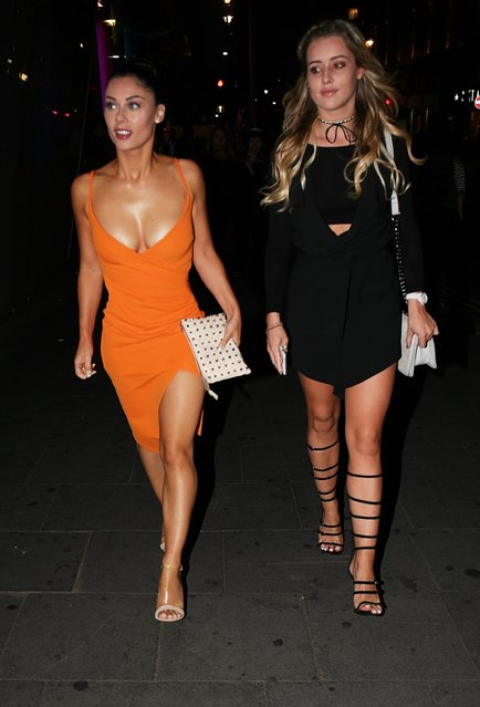 Cally Jane Beech and Tina Stinnes seen arriving for the ByGeorgiaK collection launch for TOWIE star Georgia Kousoulou held at W Hotel in London, United Kingdom on  September 20, 2016. (Photo by FameFlynet UK)