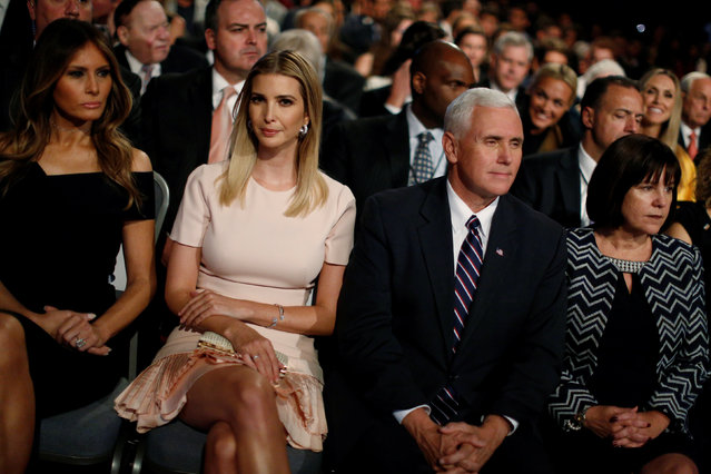 Melania Trump (L-R), the wife of Republican U.S. presidential nominee Donald Trump, sits with his daughter Ivanka Trump, Republican vice presidential nominee Mike Pence and Pence's wife Karen Pence during Trump's first debate against Democratic U.S. presidential nominee Hillary Clinton at Hofstra University in Hempstead, New York, U.S. September 26, 2016. (Photo by Jonathan Ernst/Reuters)