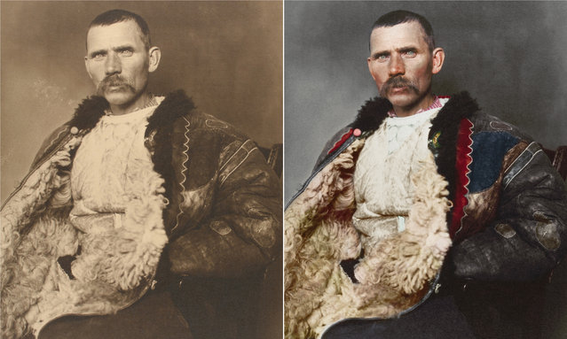 A Romanian shepherd circa 1906 wearing a traditional shepherd's cloak known as sarică, made from three or four sheepskins sewn together with the fleece facing outward. The garment was generally extended to below the knee and could be used as a pillow when sleeping outdoors. (Photo by Augustus Francis Sherman/New York Public Library/The Guardian)