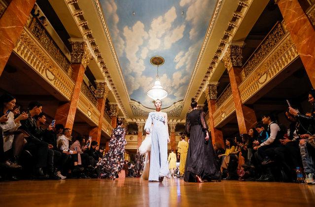 Models present creations by Kazakhstan's designer Dinara Satzhan during Kazakhstan Fashion Week at National Academical Theater of Opera and Ballet in Almaty, Kazakhstan April 11, 2018. (Photo by Shamil Zhumatov/Reuters)