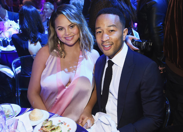 Chrissy Teigen (L) and John Legend attend City Harvest's 35th Anniversary Gala at Cipriani 42nd Street on April 24, 2018 in New York City. (Photo by Jamie McCarthy/Getty Images for City Harvest)