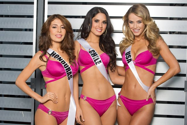 Miss Honduras 2015 Iroshka Elvir, Miss Chile 2015 Maria-Belen Jerez and Miss USA 2015 Olivia Jordan pose in Yamamay swimwear upon arriving to Planet Hollywood Resort & Casino, in Las Vegas, Nevada, in this handout received by Reuters on December 4, 2015. (Photo by Matt Petit/Reuters/The Miss Universe Organization)