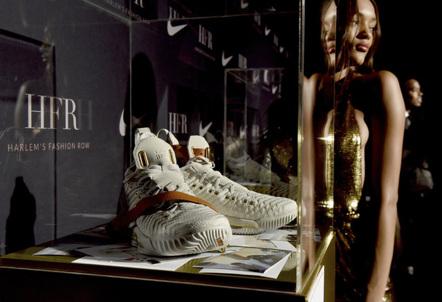 The HFR x LeBron 16 shoe is unveiled at the Harlem Fashion Row show and awards ceremony before the start of New York Fashion Week, Tuesday, September 4, 2018. (Photo by Diane Bondareff/AP Photo)