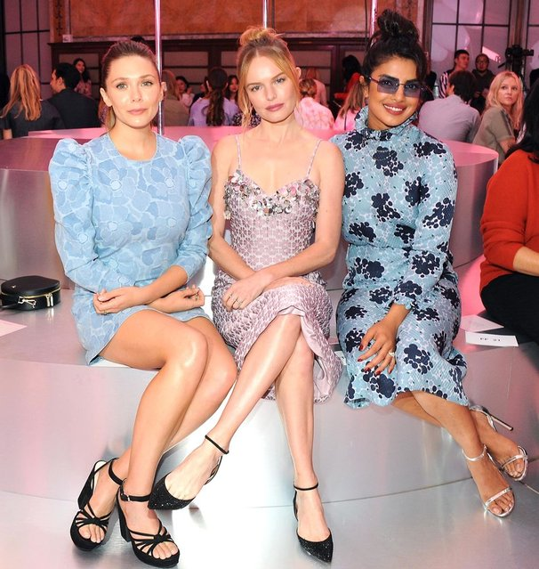 (L-R) Actresses Elizabeth Olsen, Kate Bosworth and Priyanka Chopra attend the Kate Spade New York Fashion Show during New York Fashion Week at New York Public Library on September 7, 2018 in New York City. (Photo by Desiree Navarro/WireImage)