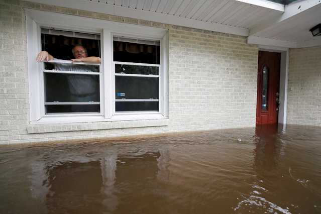 Obrad Gavrilovic peers out the window of his flooded home while considering whether to leave with his wife and pets, as waters rise in Bolivia, North Carolina, U.S., September 15, 2018. (Photo by Jonathan Drake/Reuters)
