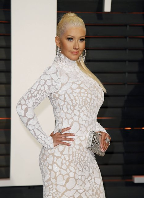 Singer Christina Aguilera arrives at the 2015 Vanity Fair Oscar Party in Beverly Hills, California February 22, 2015. (Photo by Danny Moloshok/Reuters)