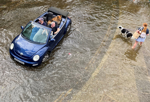 A car with dogs onboard is driven through floodwater as the River Thames bursts its banks at high tide, Richmond, London, Britain on May 27, 2021. (Photo by Toby Melville/Reuters)