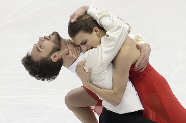 France's Gabriella Papadakis, right, and Guillaume Cizeron, end their routine in the Ice Dance Short Program event at the European Figure Skating Championships in Bratislava, Slovakia, Thursday, January 28, 2016. (Photo by Petr David Josek/AP Photo)