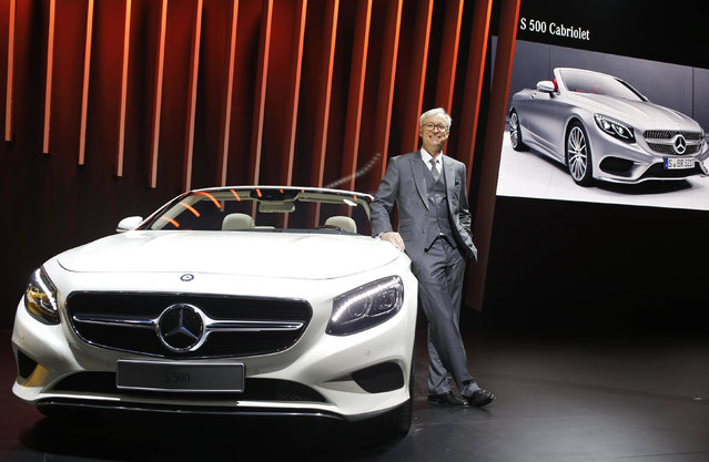 Roland Folger, Managing Director and CEO of Mercedez-Benz India, poses with the Mercedez S 500 convertible car during its launch at the Indian Auto Expo in Greater Noida, on the outskirts of New Delhi, India, February 3, 2016. (Photo by Anindito Mukherjee/Reuters)
