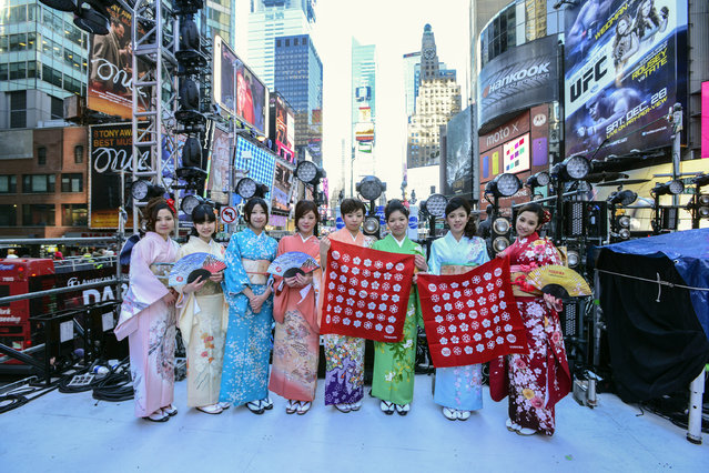 Toshiba Kimono Girls attend the Japanese New Year Countdown at Times Square on December 31, 2013 in New York City. (Photo by Eugene Gologursky/Getty Images for Toshiba)