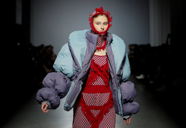 A model presents a creation by Ukrainian designer Yana Chervinska during Ukrainian Fashion Week in Kiev, Ukraine February 1, 2019. (Photo by Valentyn Ogirenko/Reuters)