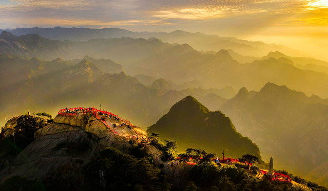 Aerial photo taken on June 19, 2021 shows the scenery of Mount Huashan in northwest China's Shaanxi Province. (Photo by Xinhua News Agency/Rex Features/Shutterstock)
