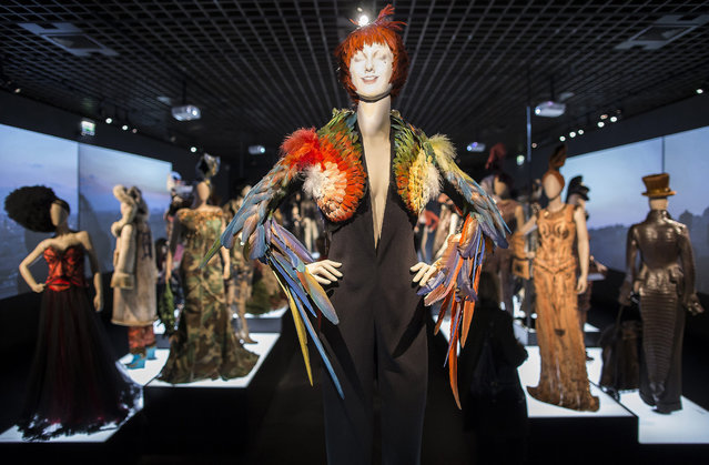 Creations by French fashion designer Jean-Paul Gaultier are displayed as part of the Jean-Paul Gaultier retrospective held at the Grand Palais in Paris, France, 30 March 2015. (Photo by Ian Langsdon/EPA)