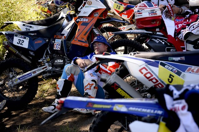 KTM rider Ben Grabham of Australia rests before the first stage of the Dakar Rally. (Photo by Frank Fife/Reuters)