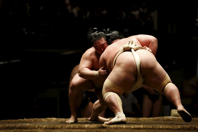 Sumo champion 'Ozeki' Kisenosato (L) and 'Ozeki' Kotoshogiku wrestle during their joint training session for Nishonoseki clan ahead of the May Grand Sumo Tournament in Tokyo May 2, 2015. (Photo by Toru Hanai/Reuters)